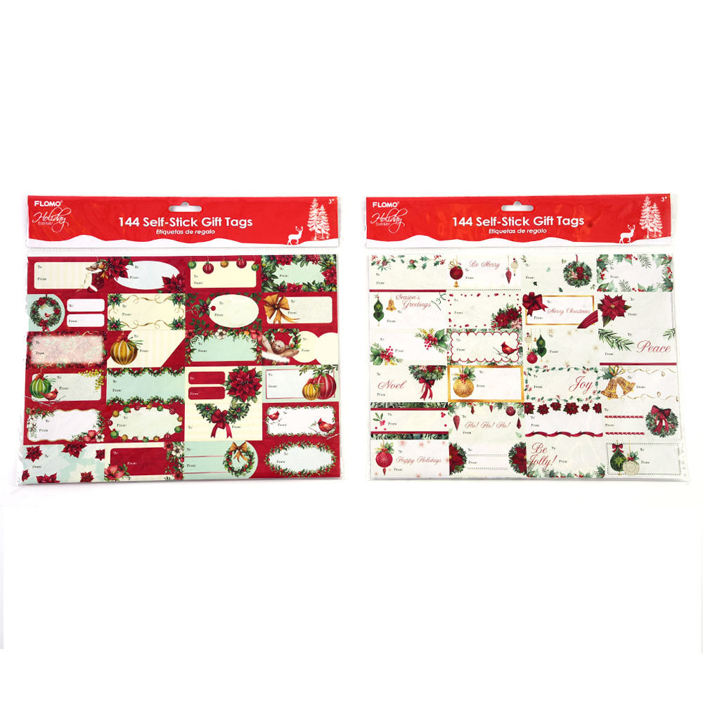 Self-Stick Christmas Gift Tags 144 Count - CASE OF 48