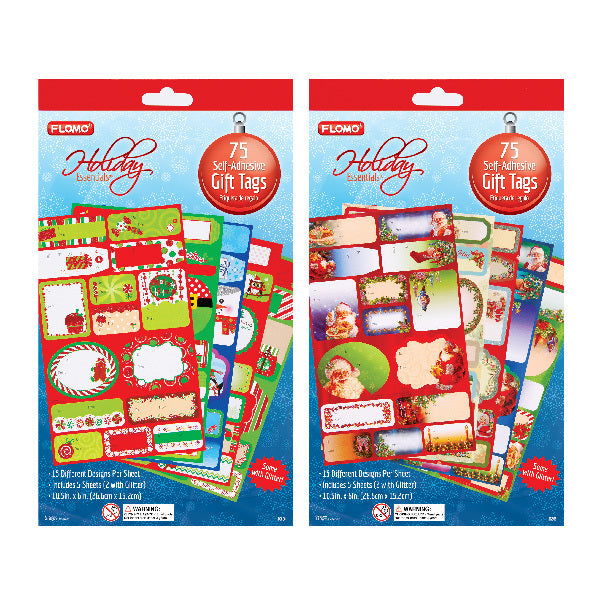 Self-Adhesive Christmas Gift Tags Booklet with Glitter - 75 Count - CASE OF 72