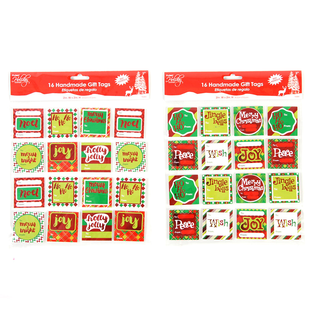 Christmas Handmade Gift Tags - 16 Count - CASE OF 72