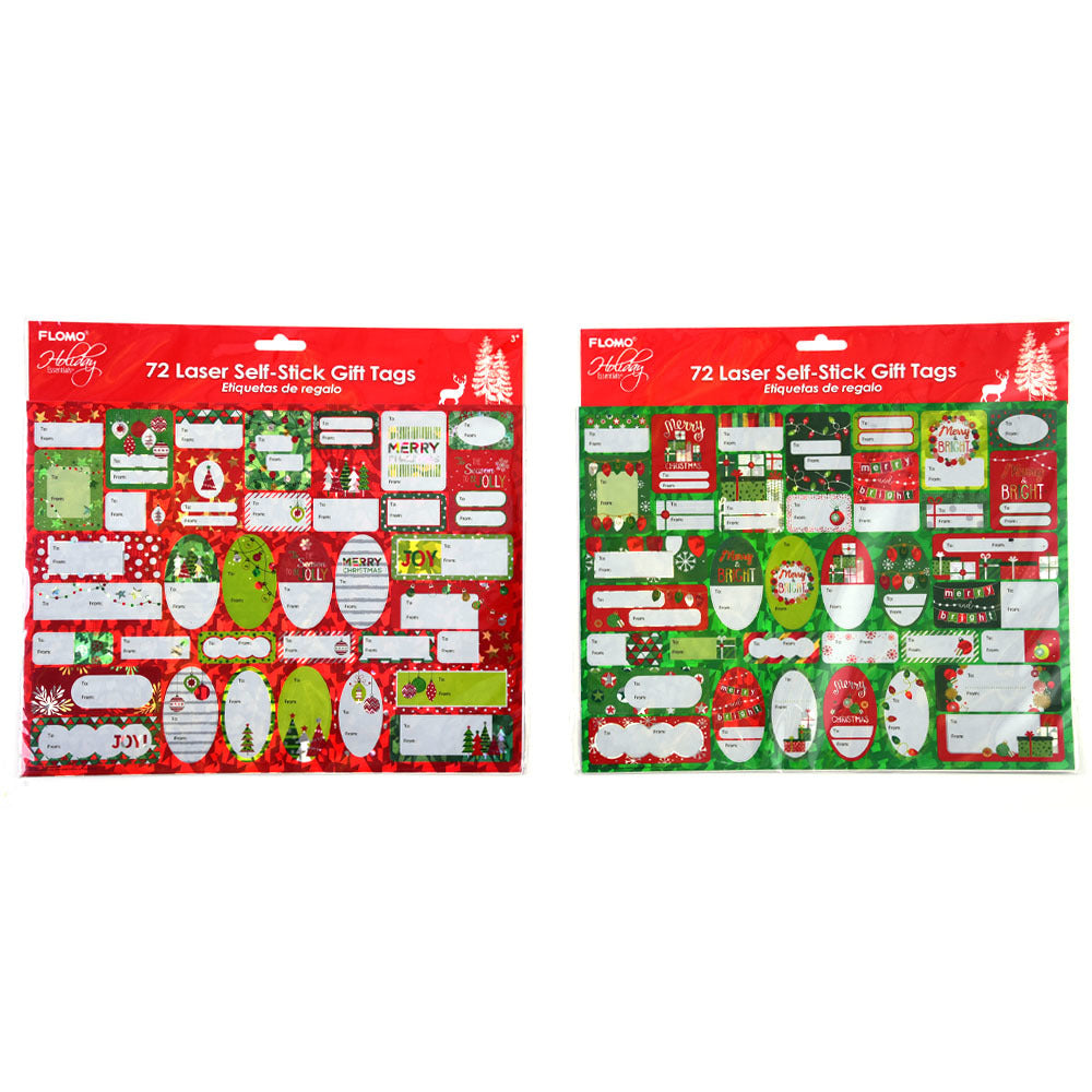 Christmas Self-Stick Hologram Gift Tags 72 Count - CASE OF 72