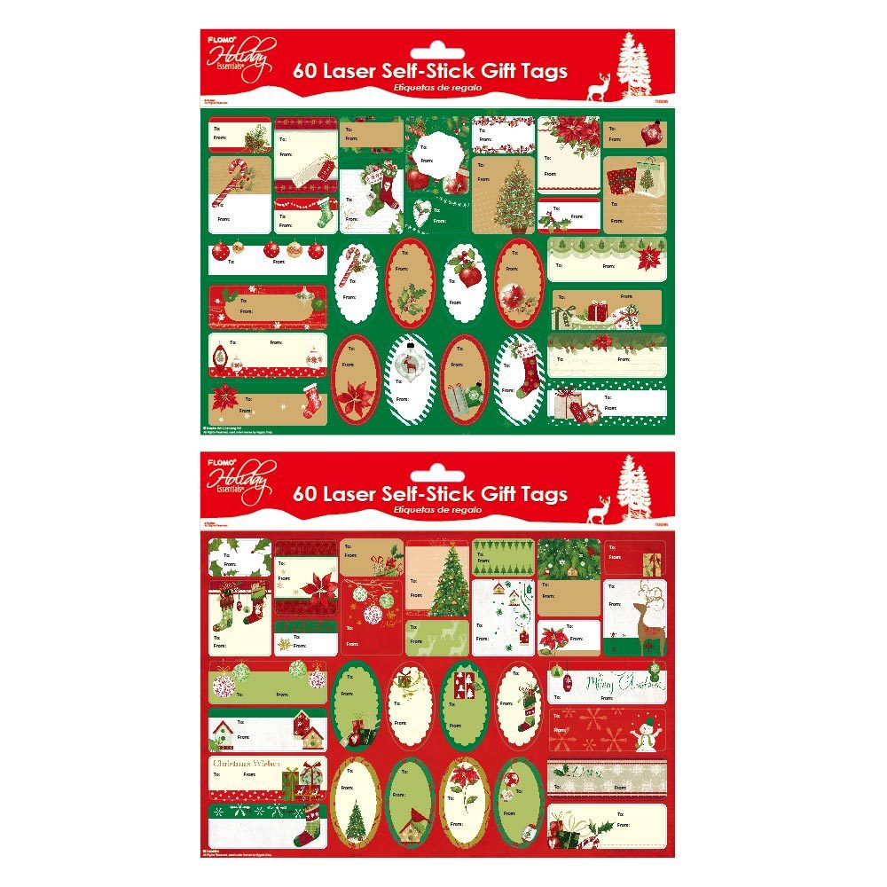 Christmas Traditional Hot Stamping Self-Stick Tags 60 Count - CASE OF 72