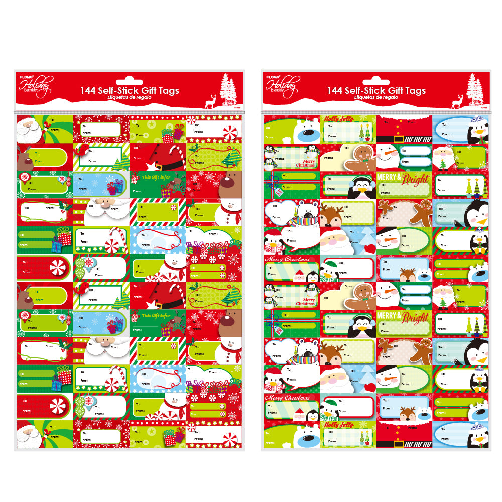Christmas Whimsical Holiday Self-Stick Tags 144 Count - CASE OF 72