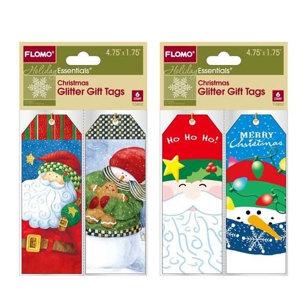 Christmas Glitter Gift Tags with a Metallic String - 6 Pack - CASE OF 72