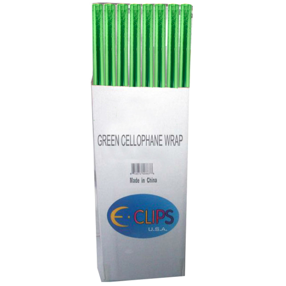 Cellophane Gift Wrap Rolls - Green - CASE OF 72