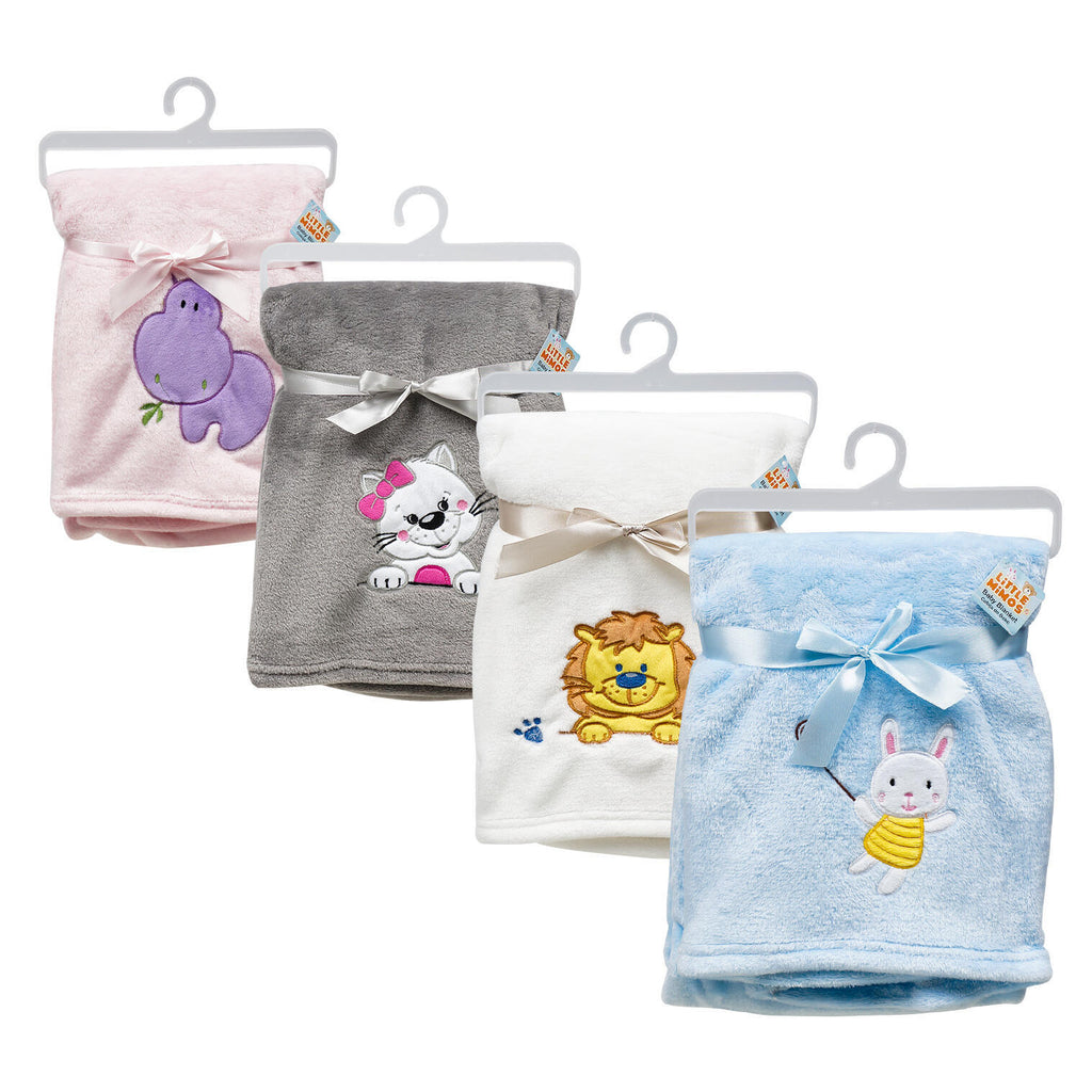 Assorted Animal Embroidered Baby Blanket - CASE OF 24