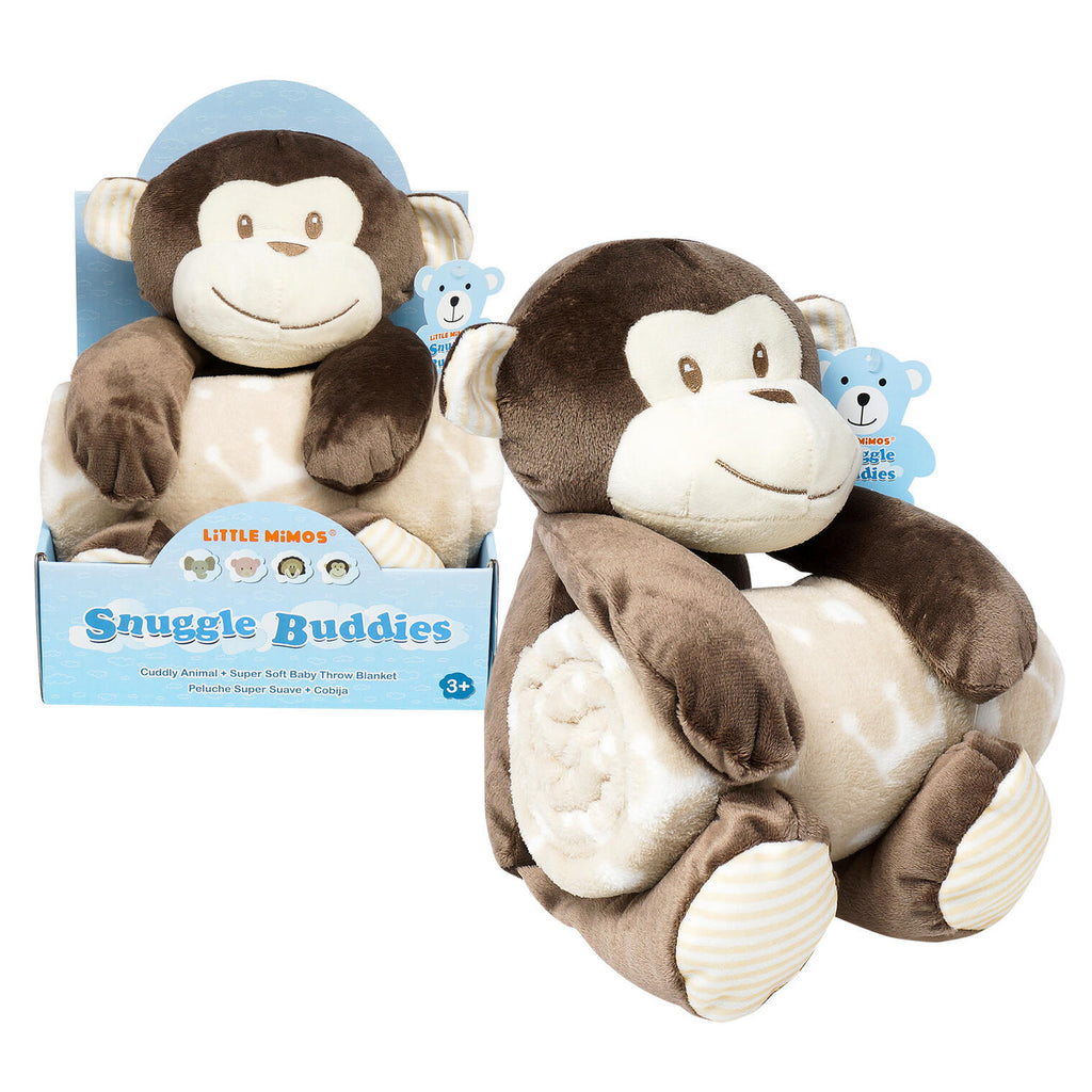 Little Mimos Snuggle Buddies Plush & Blanket - Monkey - CASE OF 12