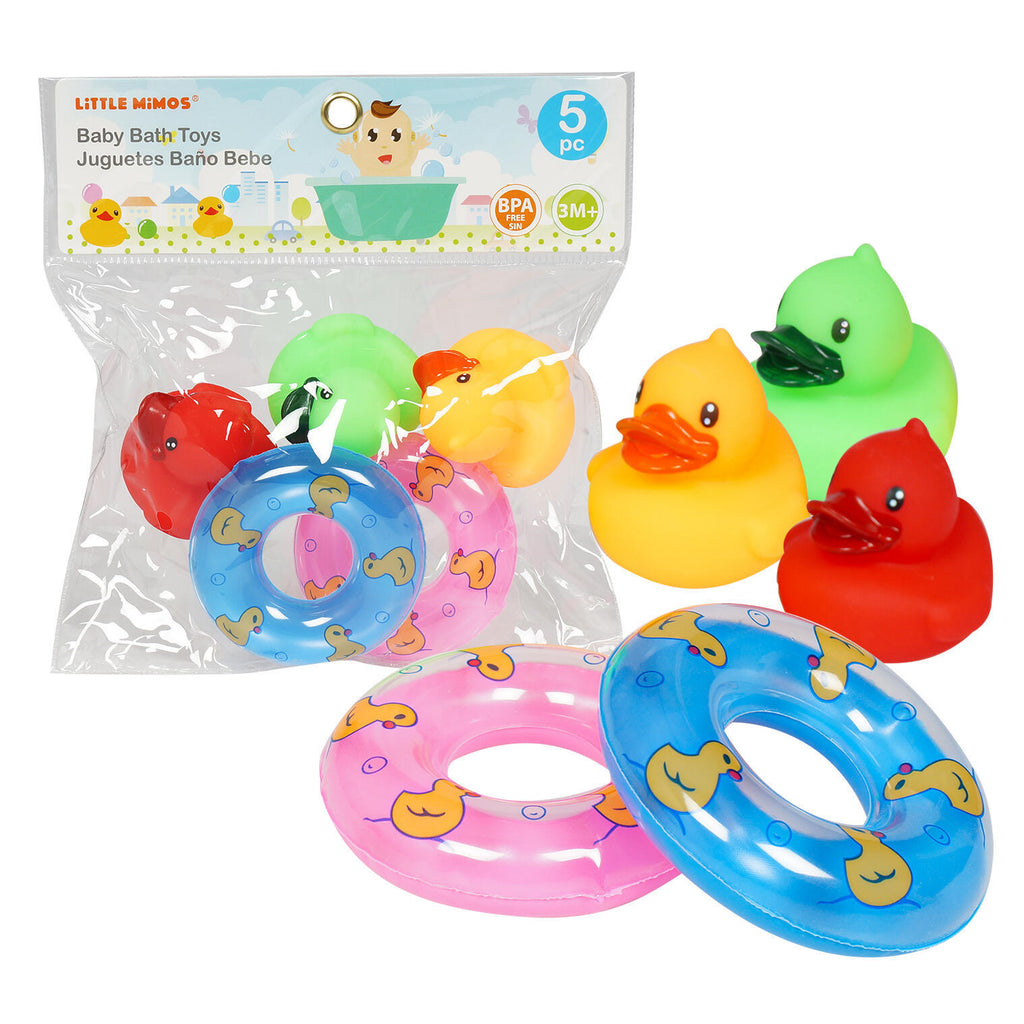 5 Piece Rubber Ducky Bath Play Set - CASE OF 36