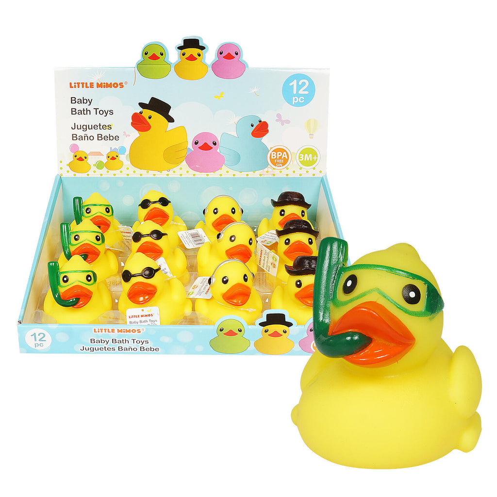 Rubber Ducky with Hats Bath Toy in Display - CASE OF 96