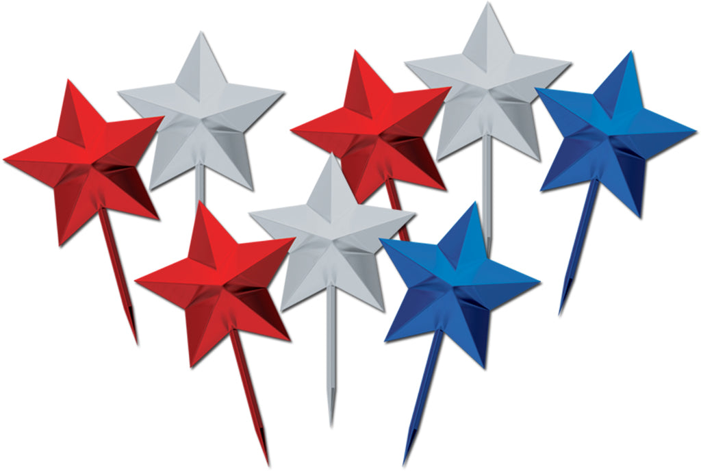 Star Picks - Assorted Red, Silver, Blue - CASE OF 24