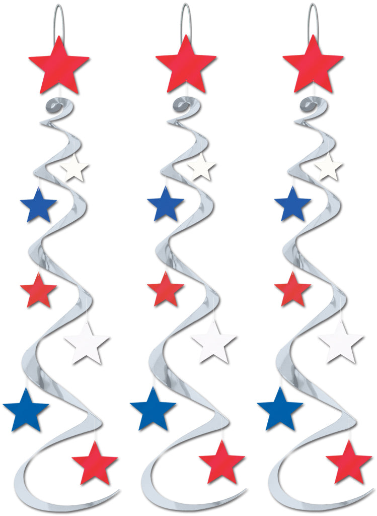 Star Whirls - Silver with Red, White, Blue Stars - CASE OF 12