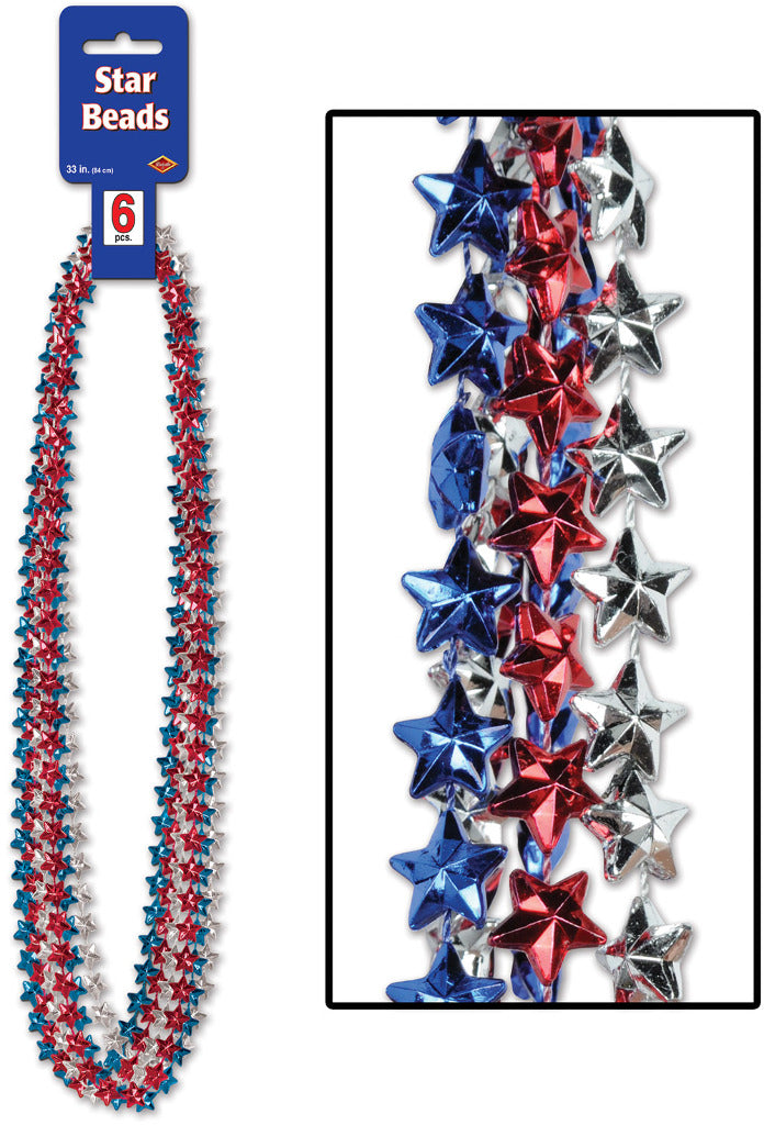 Star Beads - Assorted Red, Silver, Blue - CASE OF 24