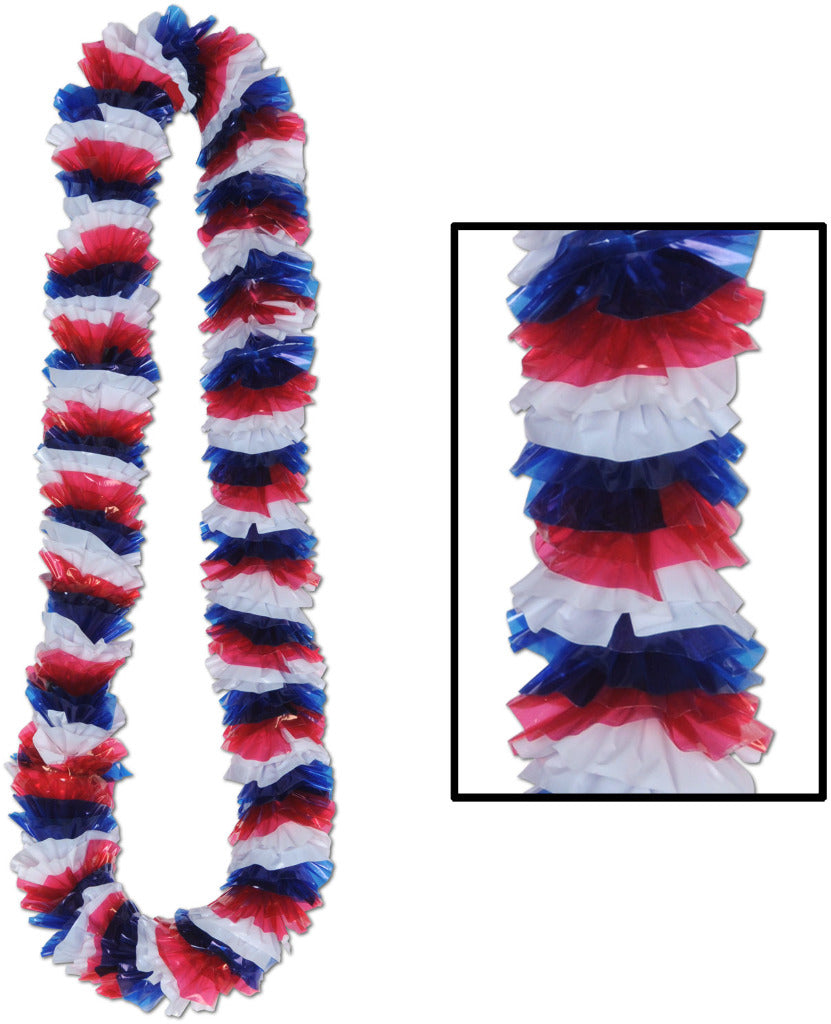 Soft-Twist Patriotic Poly Leis - Red, White, Blue #16636 - CASE OF 100