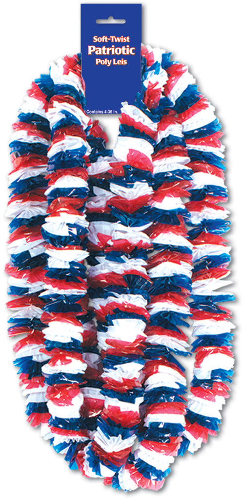 Soft-Twist Patriotic Poly Leis - Red, White, Blue #KP476 - CASE OF 24