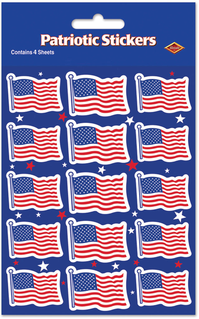 U S Flag Stickers - CASE OF 36