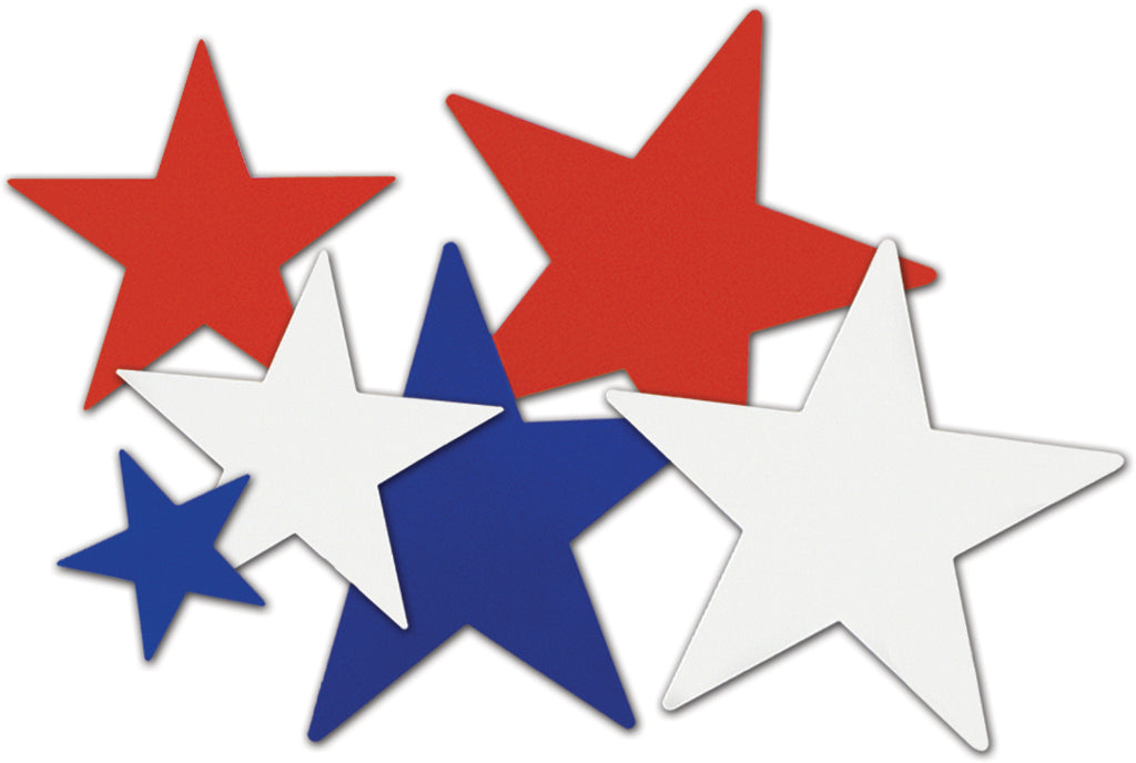 Star Cutouts - Assorted Red, White, Blue #66255 - CASE OF 24