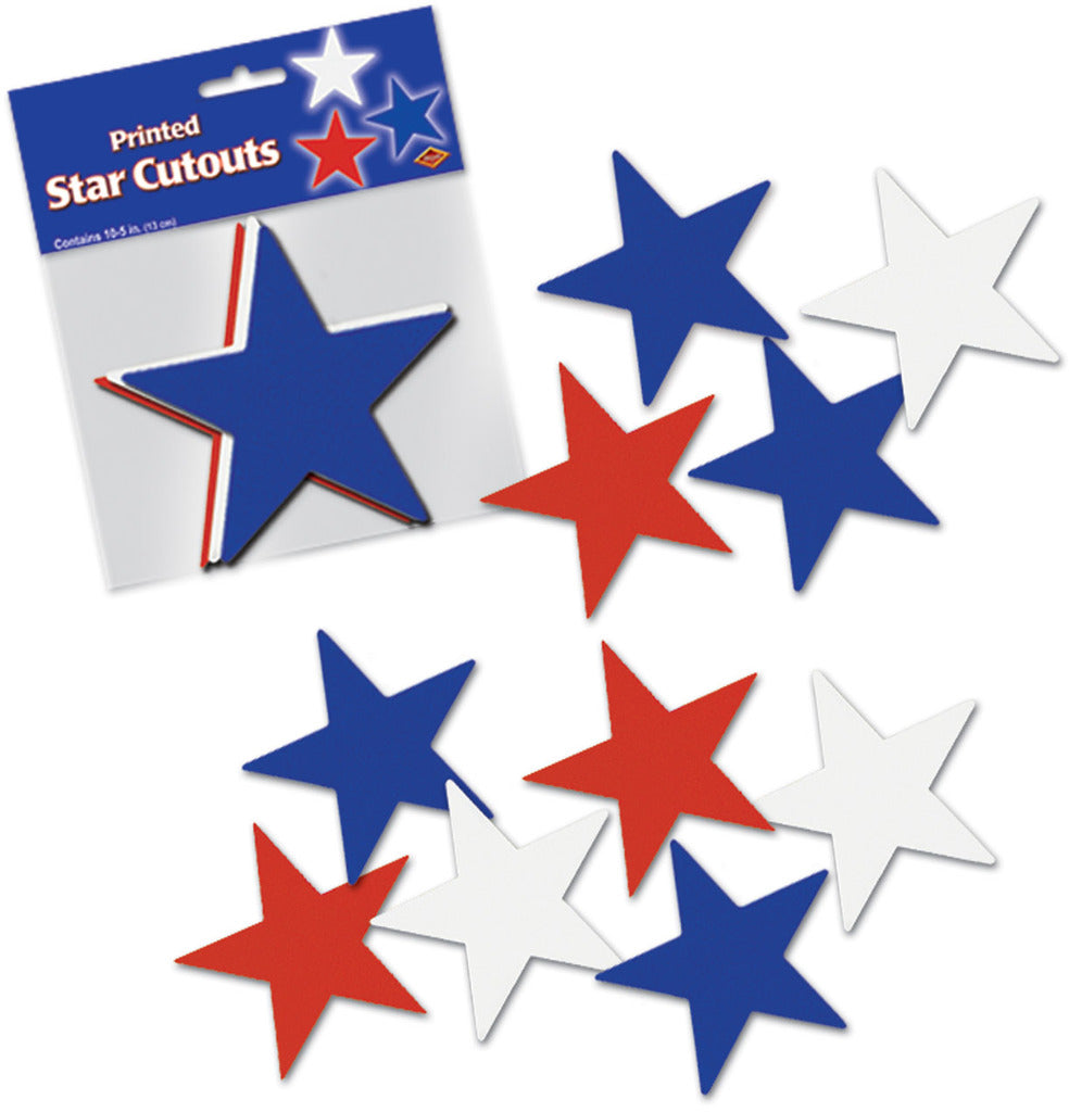Star Cutouts - Assorted Red, White, Blue #53855 - CASE OF 48