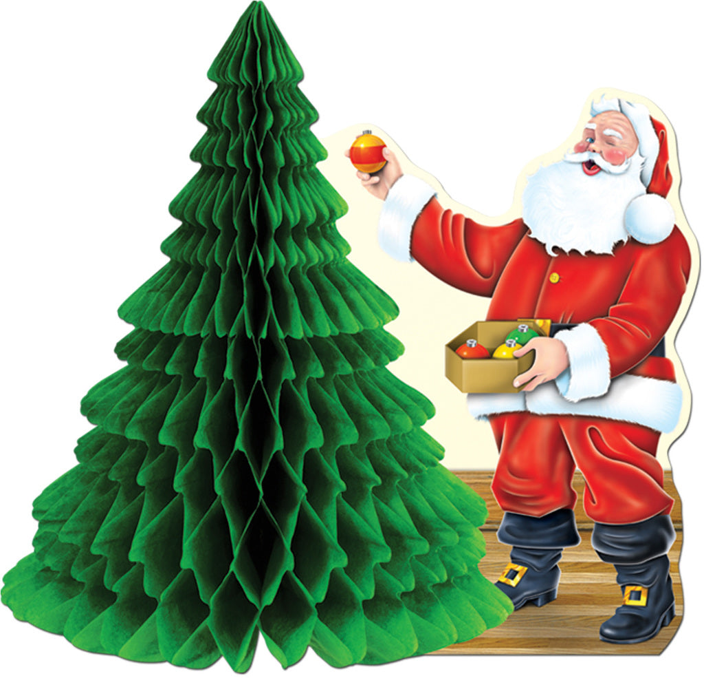 Santa with Tissue Tree Centerpiece - CASE OF 24
