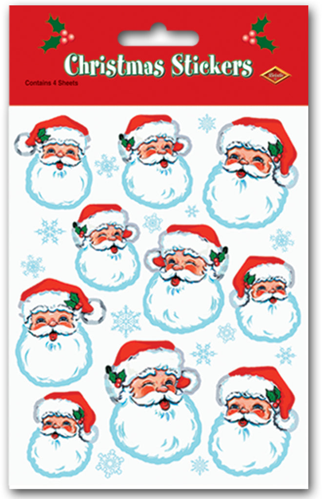 Santa Face Stickers - CASE OF 36