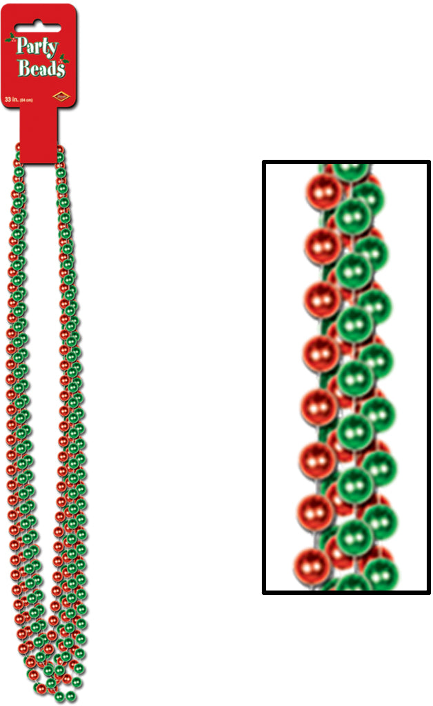 Party Beads - Small Round - Assorted Red & Green - CASE OF 24