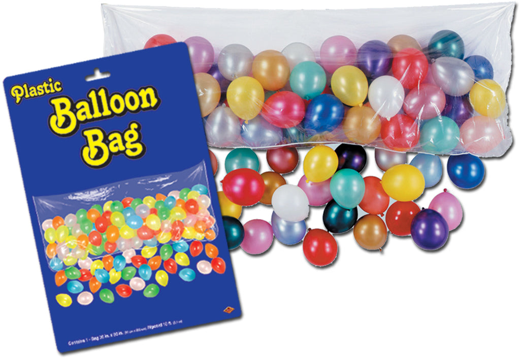 Plastic Balloon Bag with 100 Balloons - CASE OF 12