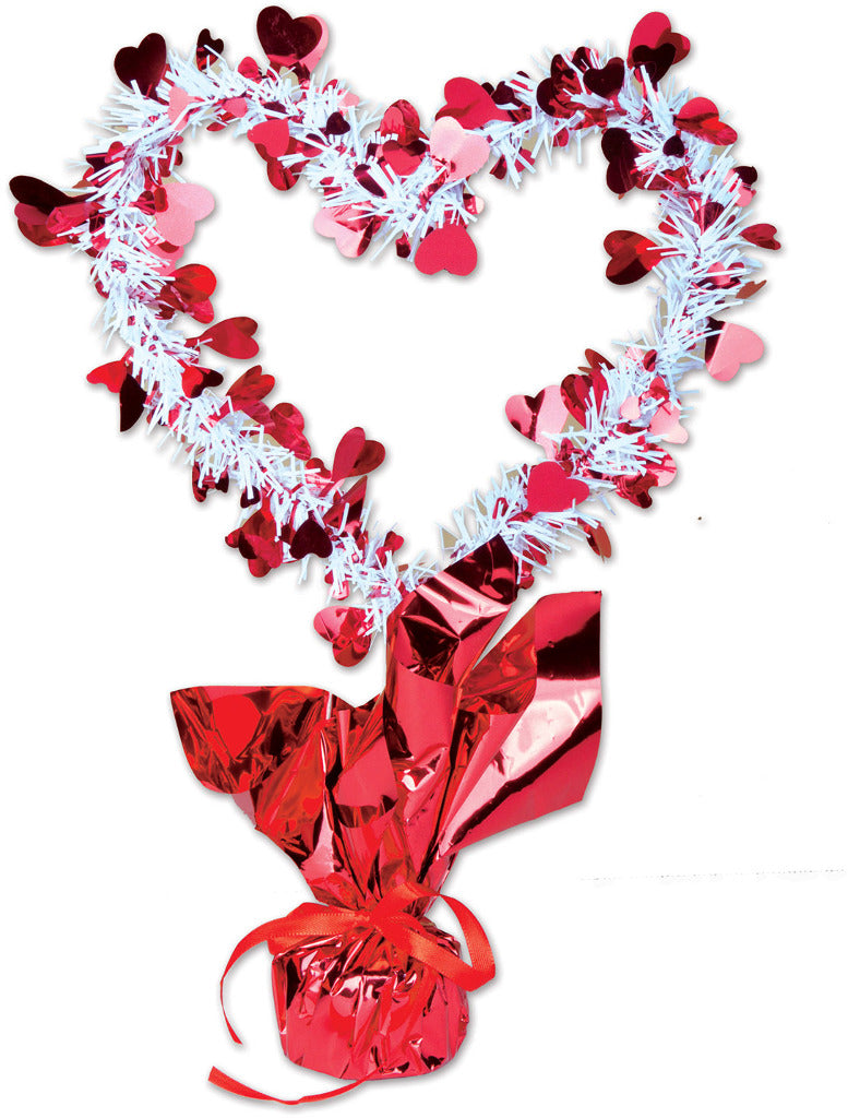 Heart Gleam 'N Shape Centerpiece - Red & White - CASE OF 12