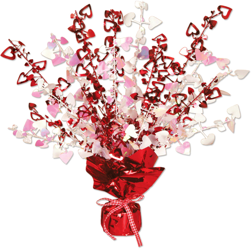Heart Gleam 'N Burst Centerpiece - Red & Opalescent - CASE OF 12
