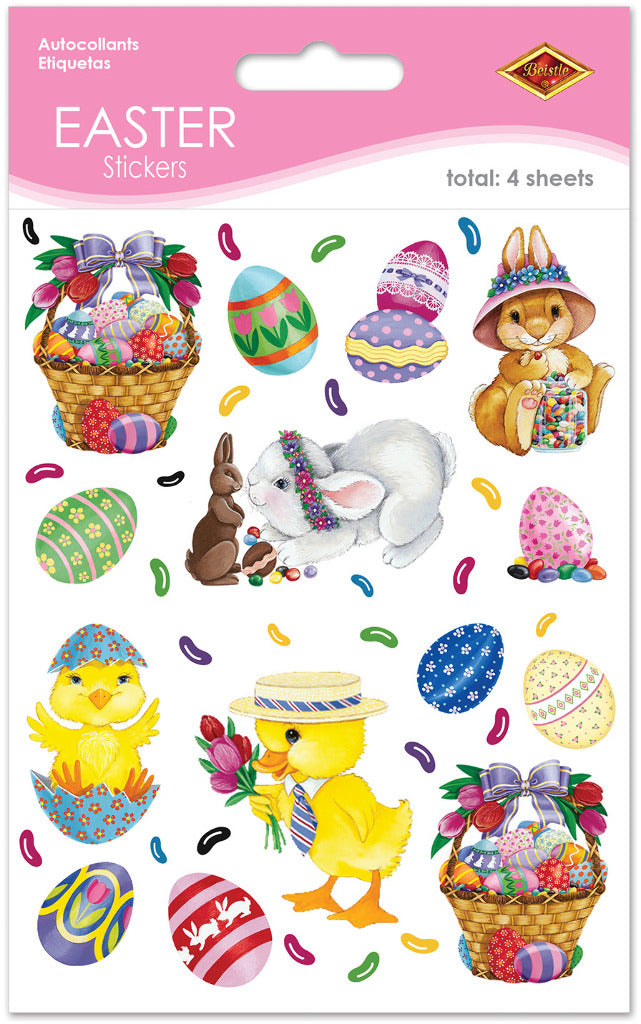 Bunny, Basket & Egg Stickers - CASE OF 36