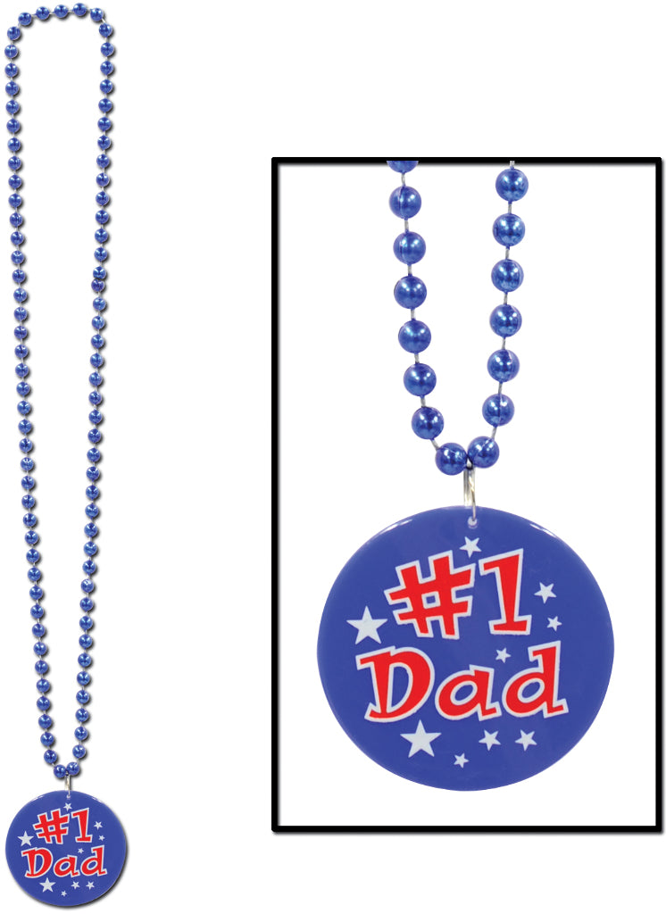 Beads with Printed #1 Dad Medallion - CASE OF 24