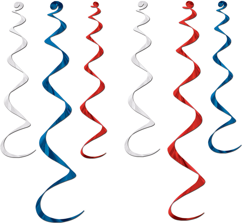 Twirly Whirlys - Assorted Red, White, Blue - CASE OF 12