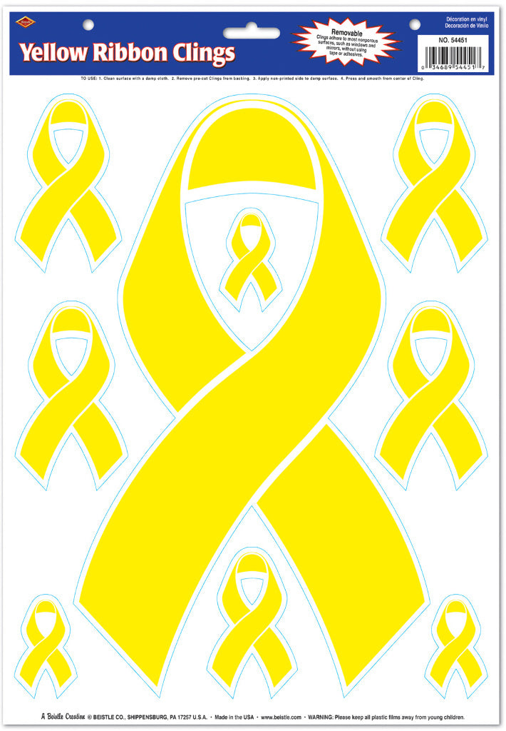 Yellow Ribbon Clings - CASE OF 36
