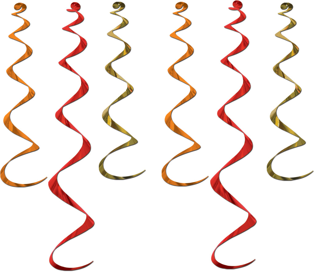 Twirly Whirlys - Assorted Gold, Orange, Red - CASE OF 12