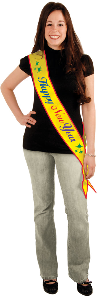 Happy New Year Satin Sash - CASE OF 12