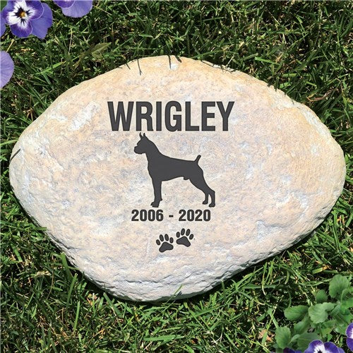 Personalized Memorial Garden Stone Pet Dog Breed Silhouette