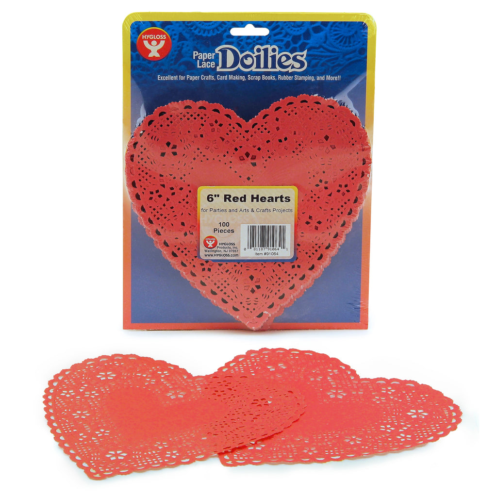 (4 Pk) Doilies 6 Red Hearts 100 Per Pk