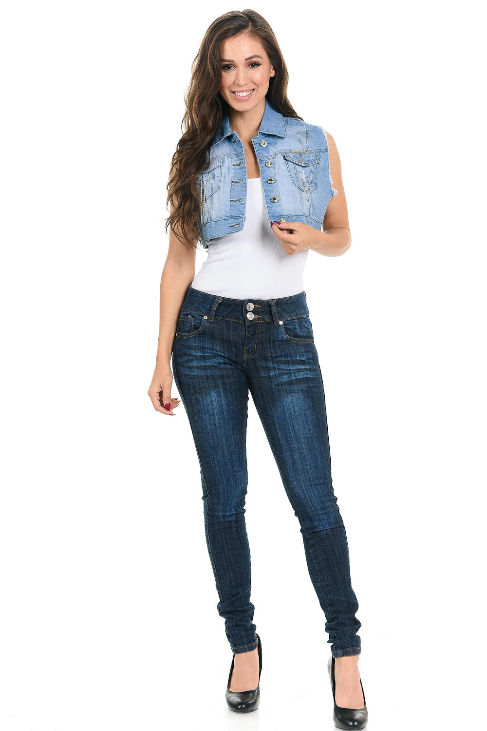 Sweet Look Women's Denim Vest - Style 514B