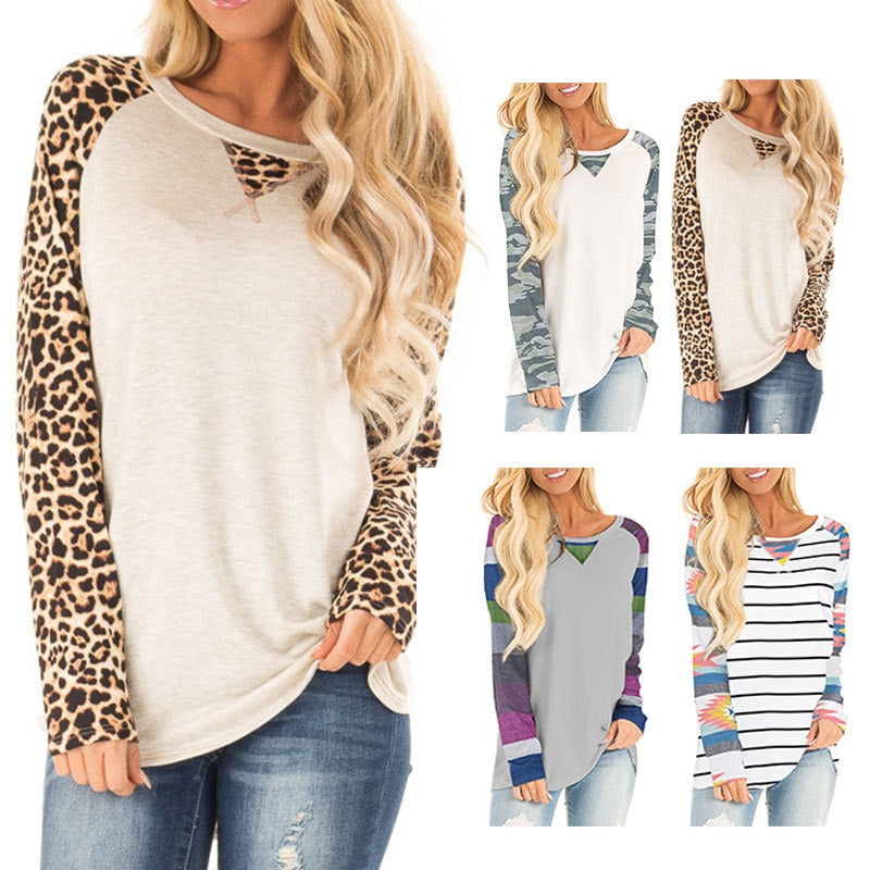 Women's Leopard Designer Shirt Long Sleeves Hipster Camouflage Top