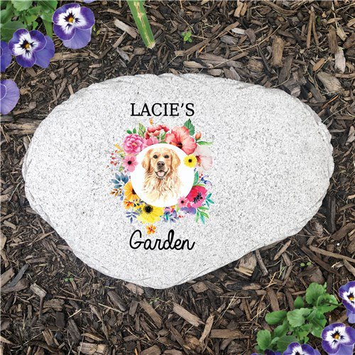 Personalized Pet Dog Garden Stone Choose Breed with Floral
