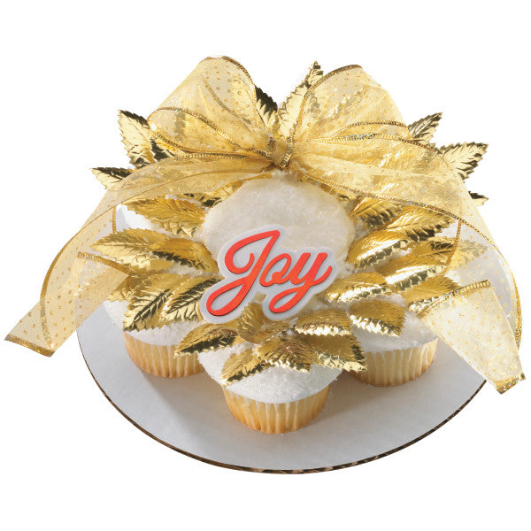 "Wedding Gold Rose Leaves 1.75"" Foil Leaves Cake and Cupcake Decorations"