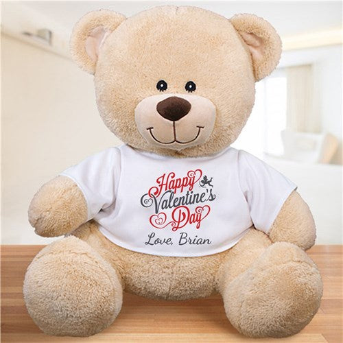Personalized Teddy Bear Happy Valentines Day Plush