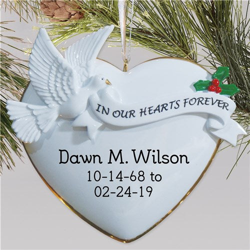 Personalized Memorial Christmas Ornament In Our Hearts Forever