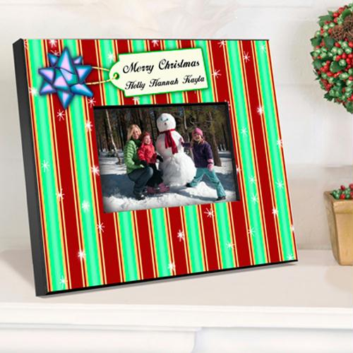 Personalized Stripes Christmas Picture Frame