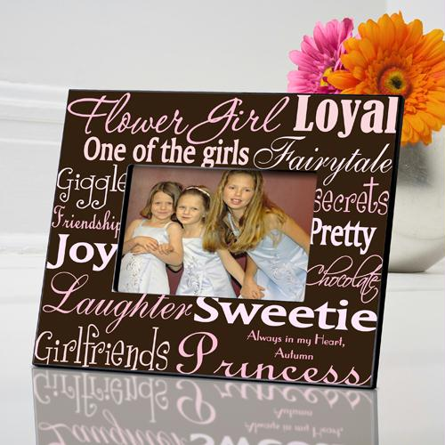 Personalized Pink on Brown Picture Frame