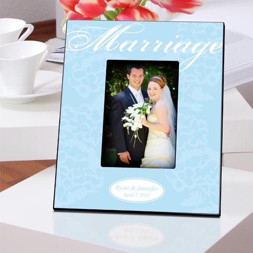 Personalized Blue with White Marriage Picture Frame