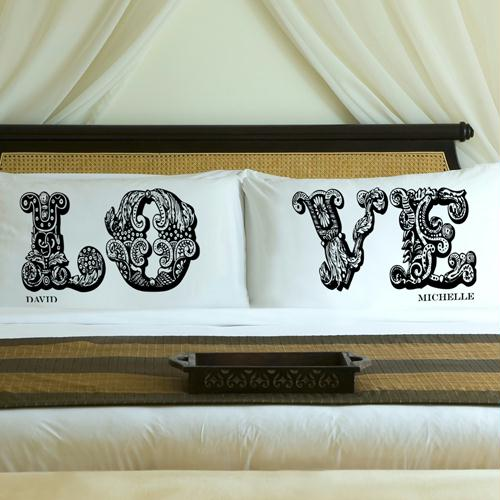 Personalized Midnight Black LOVE Connection Pillow Case Set