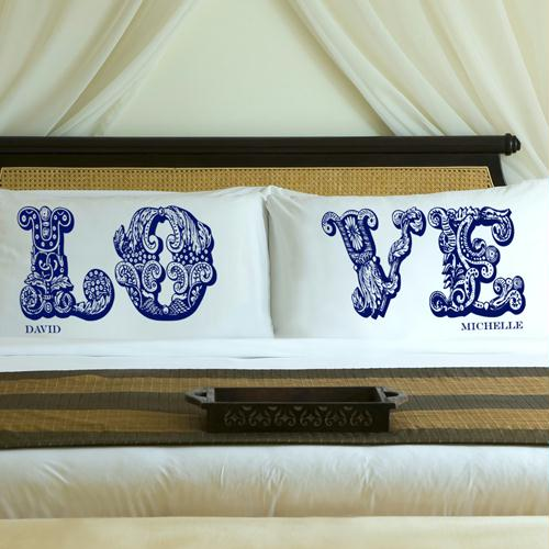 Personalized Blue Royals LOVE Connection Pillow Case Set