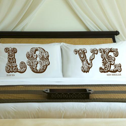 Personalized Truffle Brown LOVE Connection Pillow Case Set