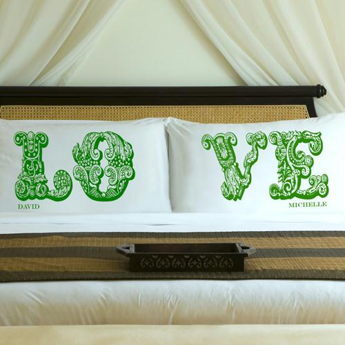Personalized Garden Green LOVE Connection Pillow Case Set