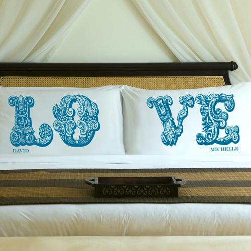 Personalized Blissful Blue LOVE Connection Pillow Case Set
