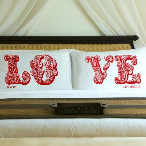 Personalized Romantic Red LOVE Connection Pillow Case Set