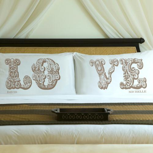 Personalized Shimmering Sand LOVE Connection Pillow Case Set
